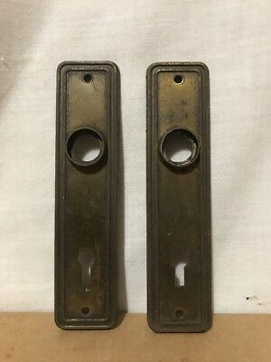 Pair Antique Steel Door Knob Back Plates Rare Smaller Size