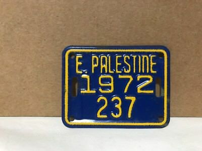 East Palestine Ohio 1972 Bicycle License Plate #237