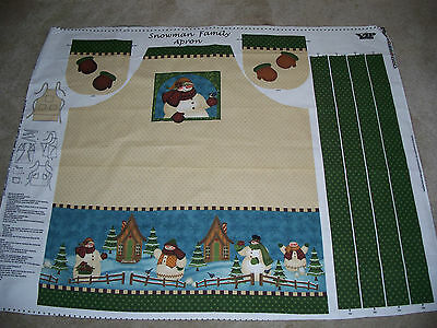 1 Apron Fabric Panel - Snowman Family Apron