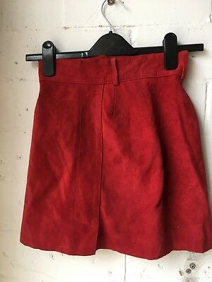 Vintage Red Suede Skirt XS leather a line 70s rave