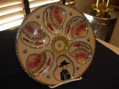 Vintage Heriot Quimper Hand Painted Oyster Plate/dish/server, Very Colorful 1/3