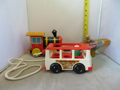 Vintage Fisher Price Lot Mini Bus, Huffy Puffy and 1952 Super Jet USAF