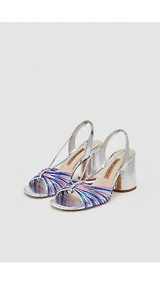 9cefb9a5a18 Zara Strappy High Heel Sandals Silver Pink Blue Size 6 Eur 39 SS18 BNWT