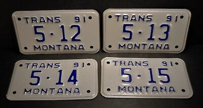 1991 Montana Transport Collector's Metal Automotive License Plates - Qty-4