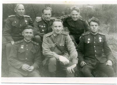 1945 Aug WW2 Red Army RKKA POLAND Officers Orders Medals Russian photo