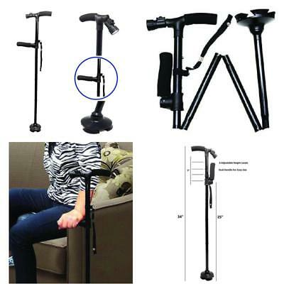 Folding Walking Cane Premium Travel Lightweight w/ LED Flashlight & EXTRA Handle