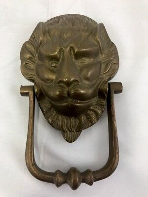 Brass Antique Door Knocker Lions Head Ring Architectural Reclaimed  Heavy Bronze