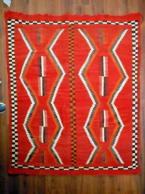 Classic NAVAJO NAVAHO Rug/Blanket...Transitional Era..Comb Designs/Checkerboards