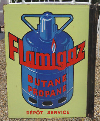 Ancienne Plaque Emaillee Flamigaz Double Face