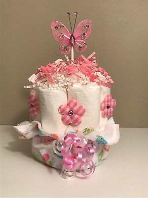 Mini Diaper Cake Flowers and Butterfly Baby Shower Centerpiece First Visit Gift