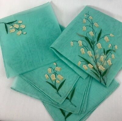 Vintage Sheer Turquoise Cocktail Napkins Table Cloth Embossed Lily of the Valley