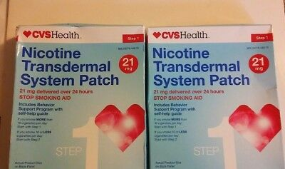 Lot of 2 CVS Nicotine Transdermal System Step 1 Patches 14 Patches (28 Total)
