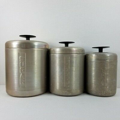 Set of 3 Vintage Brushed Spun Aluminum Canisters Sugar Coffee & Tea With Lids