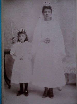 Cabinet Card Two Pretty Girls Communion Day Flowers Candle Rosary Logansport IN
