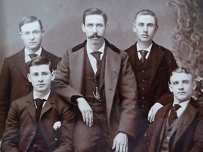Cabinet Card FIve Handsome Young Men Mustace Nicely Dressed Scottdale PA