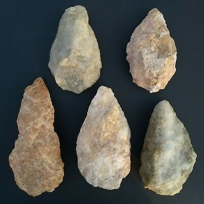 Collection of Five, Rare, Quartz Paleolithic Handaxes from Mauritania