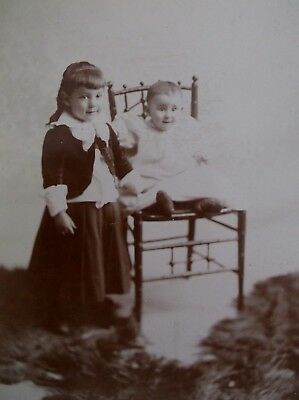 Cabinet Card Two Adorable Siblings Nicely Dresses Bucyrus OH