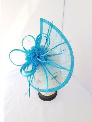 Large Sky Blue Headband&Clip Hat Fascinator Weddings Ladies Day Race Royal Ascot