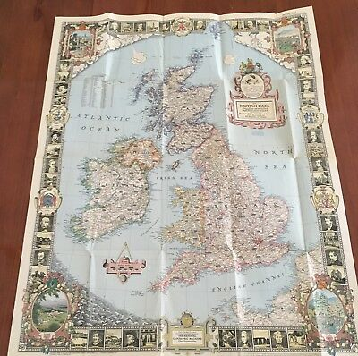 vtg MAP OF THE BRITISH ISLES National Geographic 1949 ENGLAND SCOTLAND IRELAND
