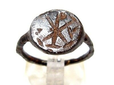 Extremely Rare Late Roman *chi-Rho* Sign Iron Seal Ring!!!