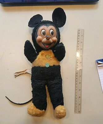 """Vintage Gund Sani-Foam Rubber Face Mickey Mouse 14"""" Plush with tail rare?"""
