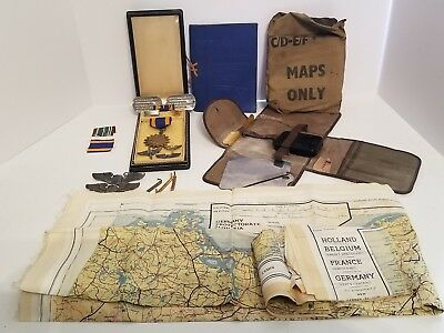 Sterling Silver US Military WWll Pilot Wings DOG TAGS Maps toiletry Kit US Air