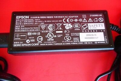 Epson AC Adapter Model A361H Rounded Plug For Epson PictureMate Printers Tested