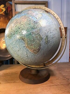 Vintage Reader's Digest Replogle World Globe on Timber Stand Made in USA