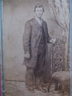 CWE CDV Handsome Young Man Chair with Wheels Playing Cards Tax Revenue Stamp