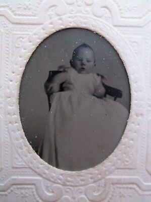 Tintype Cute Baby White Gown Embossed Paper Frame