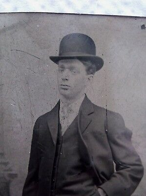 Tintype Dapper Young Man Hand in Pocket Hat Nicely Dressed Clean Shaven