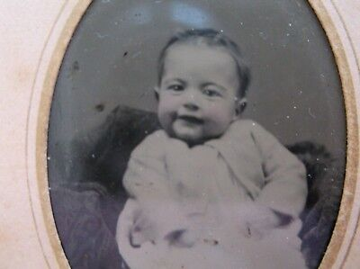 Tintype Precious Baby Sweet Face ID'd Miniell Sweater or Jacket Paper Frame