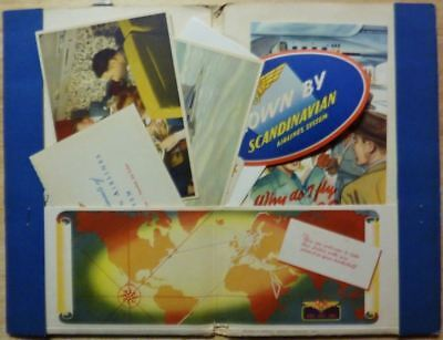Vintage SAS Scandinavian Airlines Ticket Packet postcards, brochure, luggage lab