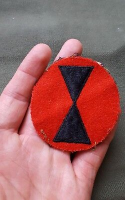 BEAUTIFUL WWII US Army 7th Infantry Division Theater Made Felt Patch