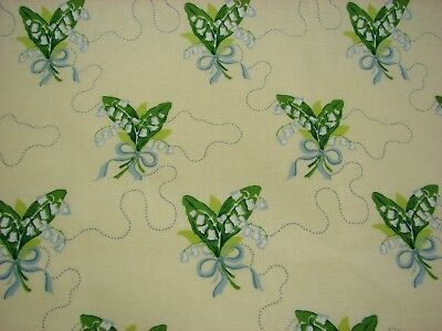 Vtg 1992 Laura Ashley Ladybank Lily of the Valley Cotton Fabric - 48 x 2.2 Yds