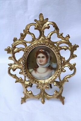 Miniature Porcelain Plaque Painting in Gilt Wood Frame - Queen Louise - Signed
