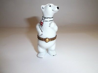 Peint Main Limoges Polar Bear with a Scarf Around His Neck Trinket Box