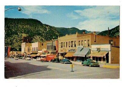 GLENWOOD SPRINGS CO BUSINESS DISTRICT ca 1950s POSTCARD BUDWEISER TRUCK etc