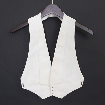 1920's VTG boy's white cotton pique open back formal waistcoat, unlabeled ~28-30