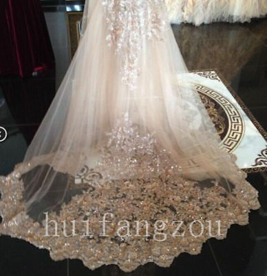 Bling Bling Wedding Veils Cathedral Long 1T Appliques With Comb Bridal Sequins