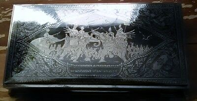 Vintage Silver Niello Siam <Thailand>Box 401 Grams With Bury Wood Inlay Inside