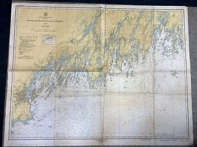 VINTAGE 1950s Nautical Chart Maine MONHEGAN TO CAPE ELIZABETH Sailing NOAA