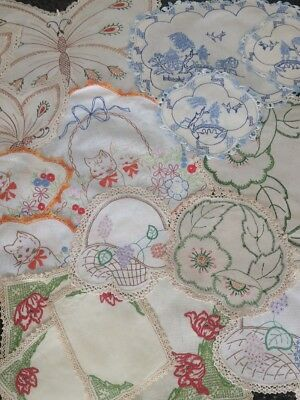 Lot Of Vintage Doilies - 6 x3 Piece Duchess Sets - Hand Embroidered