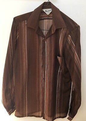 Mens Vintage Retro Brown Long Sleeved Shirt Size SMALL