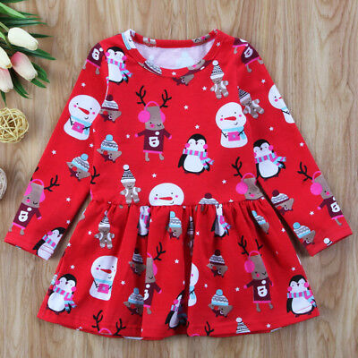 Xmas Toddler Baby Girls Kids Autumn Clothes Long Sleeve Party Tops T-Shirt Dress
