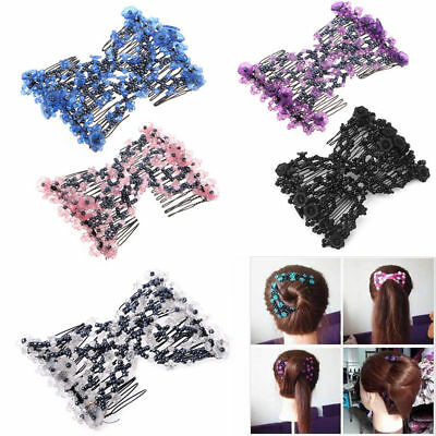 Women Double Hair Comb Magic Beads Elasticity Clip Stretchy Hair Combs Clips