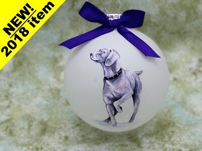 D078 Hand-made Christmas Ornament dog - Weimaraner - pointing