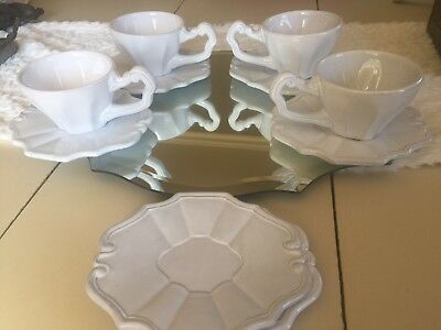 Vietri Portobello White Dinner Plates Coffee Tea Cups Saucers Lot