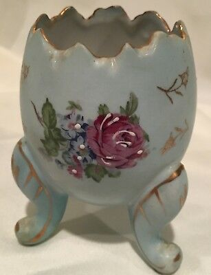 Old Vintage Napco Porcelain Easter 3 Footed Egg Shape Planter Vase Japan Blue