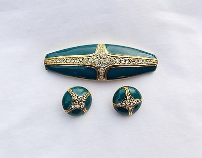 Vintage Enameled Green With Rhinestones Belt Buckle And Two Buttons